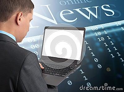 Businessman reading news