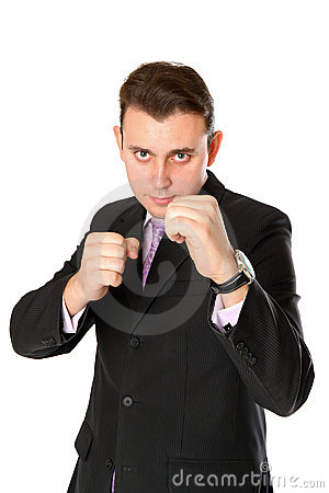 Businessman is ready for fight