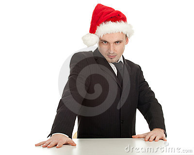 Businessman in red Christmas hat