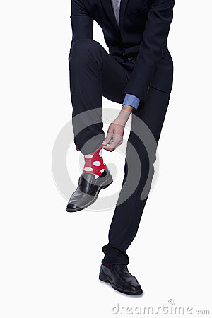 Businessman with Red Polka Dot Socks