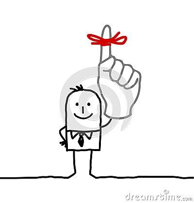 Businessman & red ribbon on finger