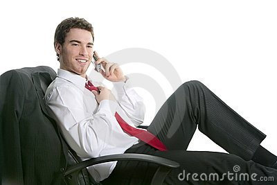 Businessman relaxed sit on chair talking