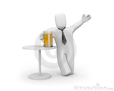 Businessman relaxing. Drink beer