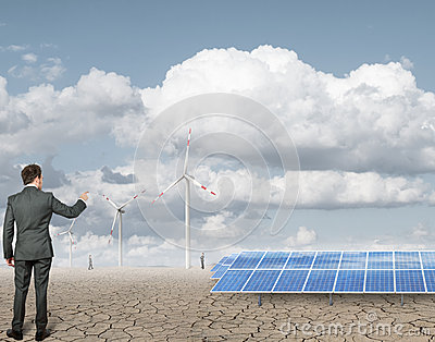Businessman and renewable anergy