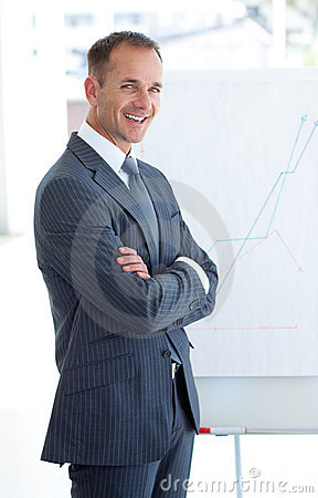 Businessman reporting to sales figures