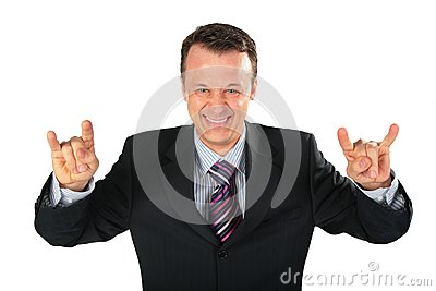 Businessman represents gangster with spred wide fi