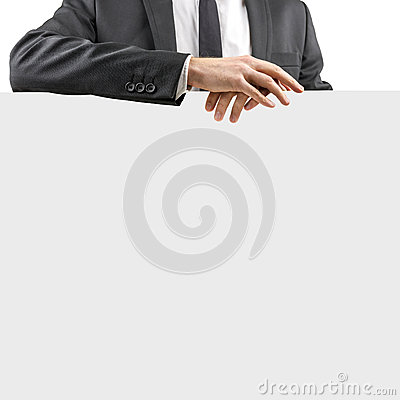 Free Businessman Resting His Hands On A Blank Sign Royalty Free Stock Photo - 37805895