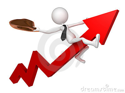 Businessman ride a stock market graph