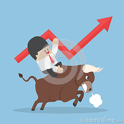 Businessman riding on bull Vector Illustration