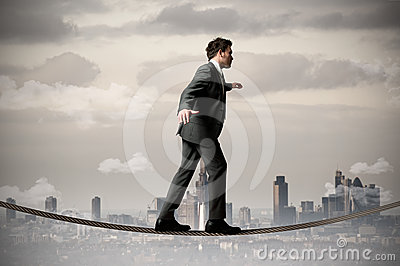 Businessman on the rope