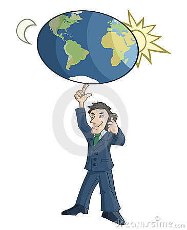 Businessman is rotating the Earth