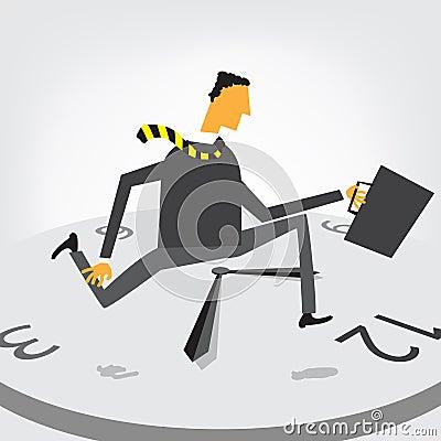 Businessman run on clock