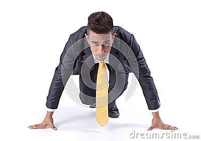 Businessman run start