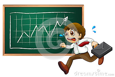 A businessman running in front of blackboard