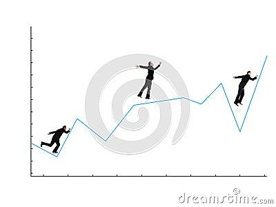 Businessman running on graph