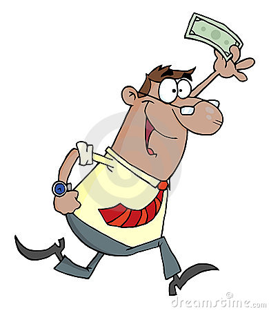 Businessman running and holding up cash