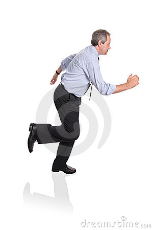 Businessman running in a hurry