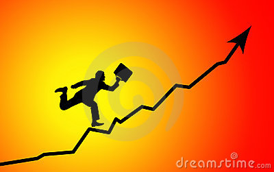 Businessman running to graph peak