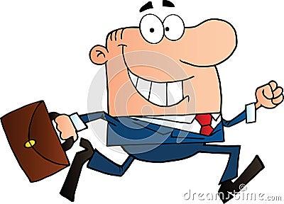 Businessman running to work with briefcase