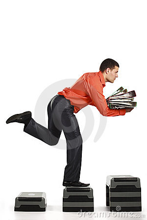 Businessman running up with folder documents