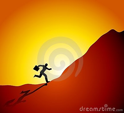 Businessman Running Up Mountain