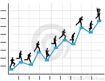 Businessman Runs Up Business Profit Chart Graph