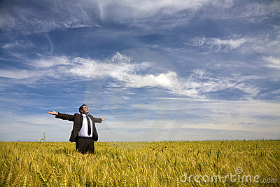 Businessman  in rural field