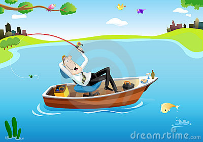 Businessman s fishing time