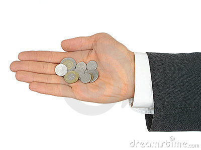 Businessman s Hand Holding Coins