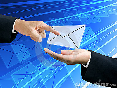 Businessman s hand point the email from sender