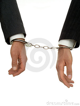 Businessman s Hands In Handcuffs