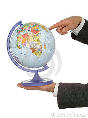 Businessman s Hands Holding Globe