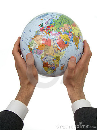 Free Businessman S Hands Holding Globe Royalty Free Stock Photography - 219287