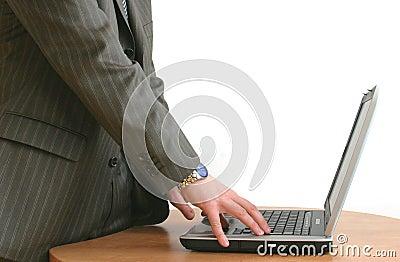 Businessman s hands on laptop