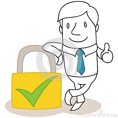 Businessman with safety lock giving the thumbs up