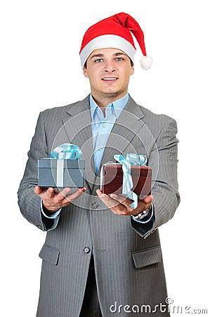 Businessman in Santa s hat