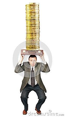 Businessman sat down under money