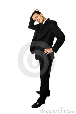 Businessman scratching his head, confused