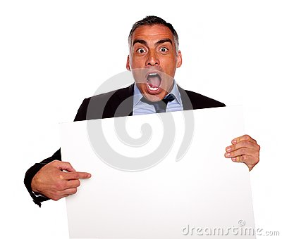 Businessman screaming and pointing a card