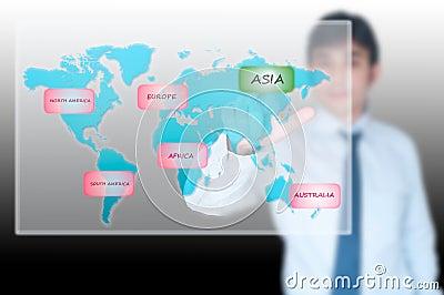 Businessman selecting Asia button