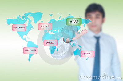 Businessman selecting Asia button
