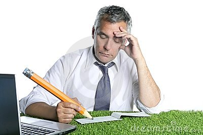 Businessman senior sign check pensively