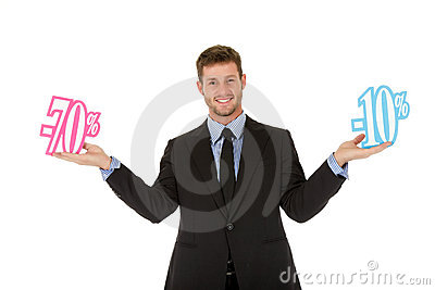 Businessman, seventy twenty percent discount sign