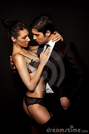 Businessman With Sexy Woman In Lingerie