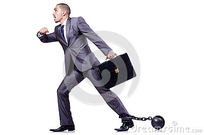 Businessman with shackles