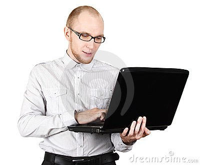 Businessman in shirt with laptop isolated