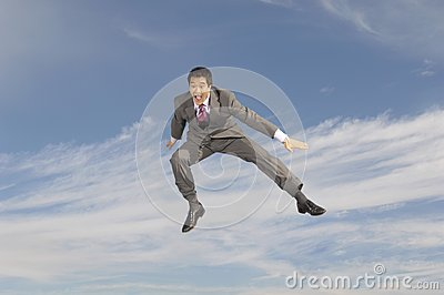 Businessman Shouting In Midair