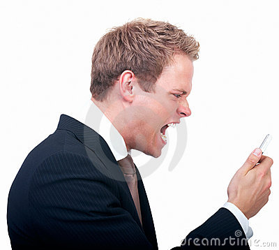 Businessman shouting at phone  isolated white back