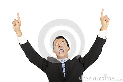 Businessman shouting and pointing