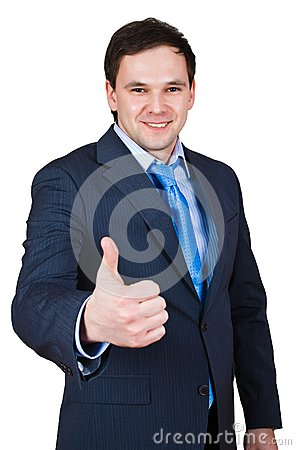 Businessman show thumb up sing